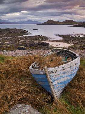 Sunset, Old Blue Fishing Boat, Inverasdale, Loch Ewe, Wester Ross, North West Scotland by Neale Clarke
