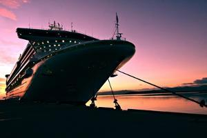 Cruise Ship Docked in Ushuaia at Sunrise by Neale Cousland