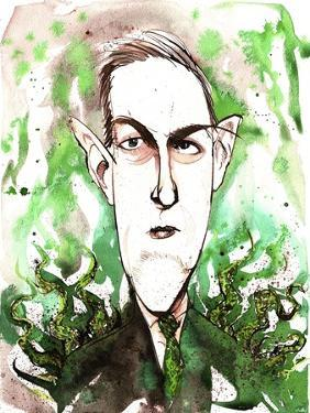 American horror and science fiction writer Howard Phillips Lovecraft; caricature by Neale Osborne
