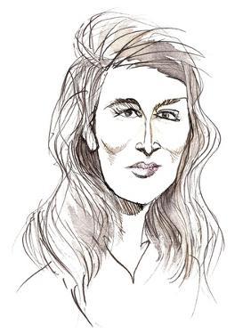 Angela Carter, English novelist and journalist; caricature by Neale Osborne