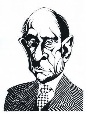 Arnold Schoenberg - caricature of the Austrian composer 13 September 1874 - 1951 by Neale Osborne
