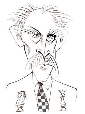 Arthur Bliss - English composer and conductor; caricature with 'chess board' tie by Neale Osborne