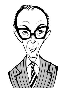 Eric Morecambe, English comedian; caricature by Neale Osborne