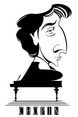Frederic Chopin, French - Polish-born composer and pianist, b/w 'graphic' caricature with piano by Neale Osborne