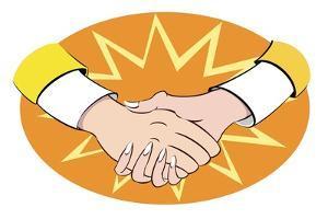 'Golden handshake' - illustration of buisness allegory by Neale Osborne