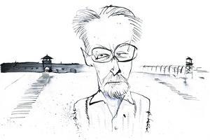Italian writer, poet and chemist Primo Levi; caricature by Neale Osborne
