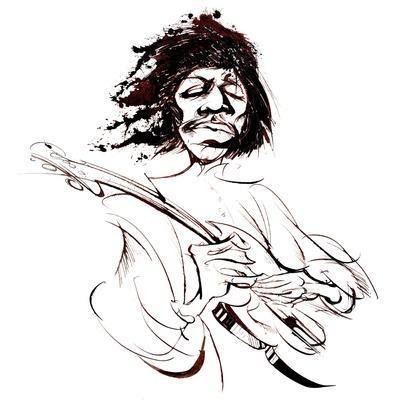 Jimi Hendrix, American guitarist, sepia line caricature