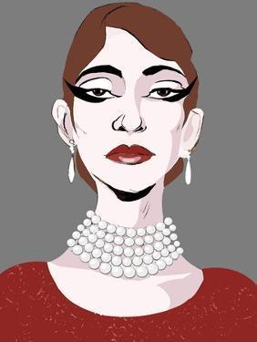 Maria Callas, American soprano , colour caricature by Neale Osborne