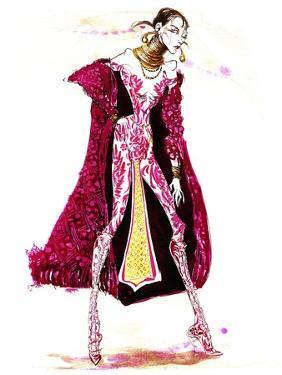 Model wearing a catsuit and fur coat by Neale Osborne