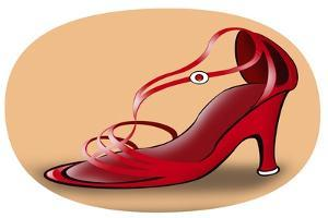 Shoe with red straps by Neale Osborne