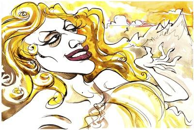 Tatiana Troyanos - colour caricature as Venus, from the 1845 opera 'Tannhaüser' by Richard Wagner