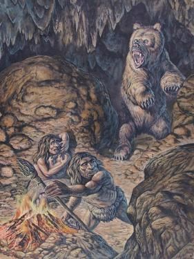 Neanderthal Humans Confronted by a Cave Bear