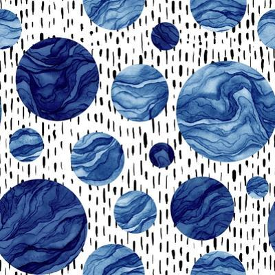 Hand Drawn Seamless Pattern of Watercolor Deep Blue Circles. Marble Texture by Nebula Cordata