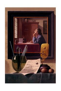 A Painted Portrait of Biologist Anton Van Leeuwenhoek by Ned M. Seidler