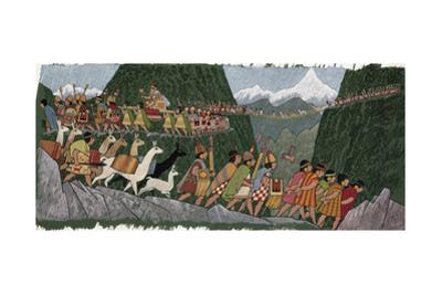A Victorious Inca Emperor and His Army March Home to Cuzco