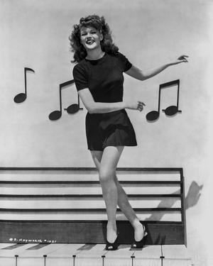 Rita Hayworth in Musical Notes Background by Ned Scott
