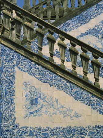 Detail of External Staircase Decorated with Azulejos (Tiles), Algarve, Portugal