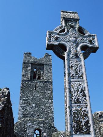 High Cross, Church of Slane Friary, County Meath, Leinster, Republic of Ireland (Eire), Europe