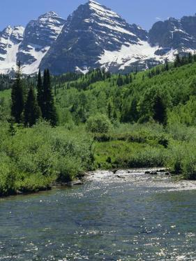 Maroon Bells Seen from Stream Rushing to Feed Maroon Lake Nearby, Rocky Mountains, USA by Nedra Westwater