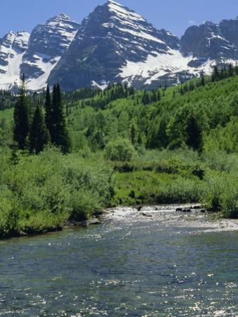 Maroon Bells Seen from Stream Rushing to Feed Maroon Lake Nearby, Rocky Mountains, USA