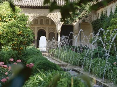 The Canal Court of the Generalife Gardens in May, Granada, Andalucia, Spain