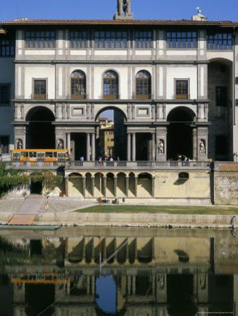 The Uffizi Reflected in the Arno River, Florence, Tuscany, Italy