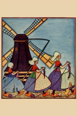 Dutch Girls Knitting by Needlecraft Magazine