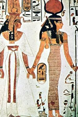 Nefertari and Isis, Ancient Egyptian Wall Painting from a Theban Tomb, 13th Century Bc