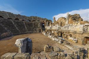 Amphitheatre at Side, Side, Antalya Province, Turkey Minor, Eurasia by Neil Farrin