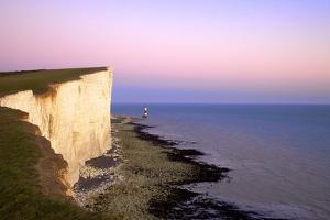 Beachy Head and Beachy Head Lighthouse at Sunset, East Sussex, England, United Kingdom, Europe by Neil Farrin