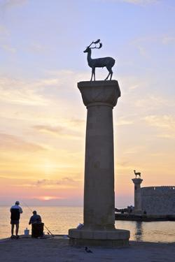 Bronze Doe and Stag Statues at the Entrance of Mandraki Harbour, Rhodes, Dodecanese by Neil Farrin