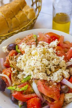 Greek Panzanella Salad, Kalymnos, Dodecanese, Greek Islands, Greece, Europe by Neil Farrin