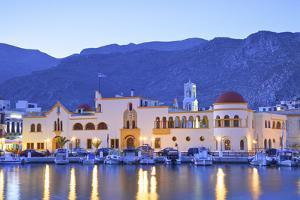 Harbour at Pothia, Kalymnos at Dusk, Dodecanese, Greek Islands, Greece, Europe by Neil Farrin