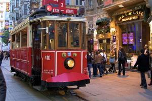 Historic Red Tram on Istiklal Caddesi, Beyoglu, Istanbul, Turkey, Europe by Neil Farrin