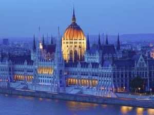 Hungarian Parliament Building at Dusk, Budapest, Hungary by Neil Farrin