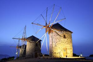 Illuminated Windmills of Chora, Patmos, Dodecanese, Greek Islands, Greece, Europe by Neil Farrin