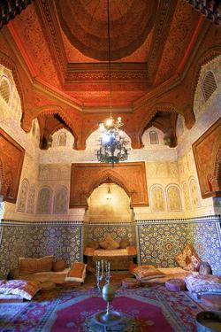 Interior of Dar Jamai Museum, Meknes, Morocco, North Africa by Neil Farrin