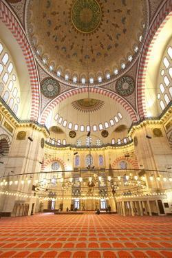 Interior of Suleymaniye Mosque, UNESCO World Heritage Site, Istanbul, Turkey, Europe by Neil Farrin