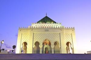 Mausoleum of Mohammed V at Dusk, Rabat, Morocco, North Africa, Africa by Neil Farrin