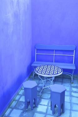 Moroccan Table and Chairs, Chefchaouen, Morocco, North Africa by Neil Farrin