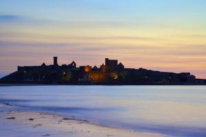 Peel Castle at Dusk, St. Patrick's Isle, Isle of Man, Europe by Neil Farrin
