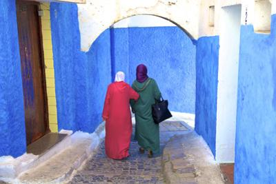 People Walking in Oudaia Kasbah, Rabat, Morocco, North Africa by Neil Farrin