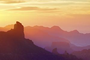 Roque Bentayga at sunset, Gran Canaria, Canary Islands, Spain, Atlantic Ocean, Europe by Neil Farrin