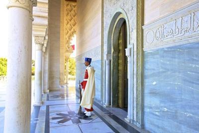 Royal Guard on Duty at Mausoleum of Mohammed V, Rabat, Morocco, North Africa, Africa