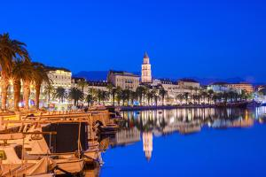 Split Harbour with Cathedral of Saint Domnius at dusk, Split, Dalmatian Coast, Croatia by Neil Farrin
