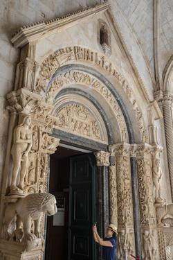 Stone carving outside The Cathedral of St. Lawrence, Trogir, UNESCO Wold Heritage Site, Croatia by Neil Farrin
