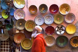 Street Scene with Moroccan Ceramics, Marrakech, Morocco, North Africa, Africa by Neil Farrin