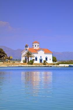 The Harbour and Agios Spyridon Church, Elafonisos Island, Laconia, The Peloponnese, Greece by Neil Farrin
