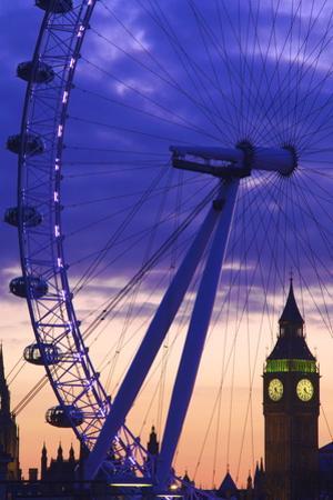 The London Eye and Big Ben, London, England, United Kingdom, Europe