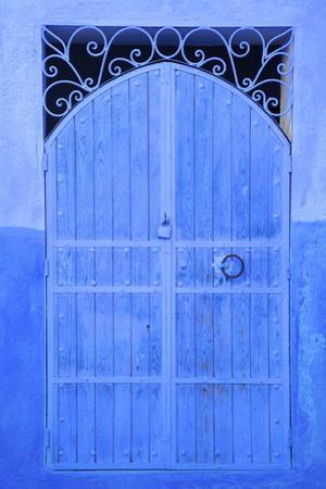 Traditional Blue Painted Door, Chefchaouen, Morocco, North Africa, Africa by Neil Farrin